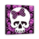 Pink Polka Dot Bow Skull Mini Canvas 6  x 6  (Stretched)
