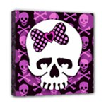 Pink Polka Dot Bow Skull Mini Canvas 8  x 8  (Stretched)