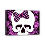 Pink Polka Dot Bow Skull Mini Canvas 7  x 5  (Stretched)