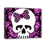 Pink Polka Dot Bow Skull Canvas 10  x 8  (Stretched)
