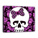 Pink Polka Dot Bow Skull Canvas 14  x 11  (Stretched)