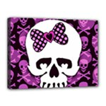 Pink Polka Dot Bow Skull Canvas 16  x 12  (Stretched)