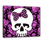 Pink Polka Dot Bow Skull Canvas 20  x 16  (Stretched)