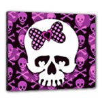 Pink Polka Dot Bow Skull Canvas 24  x 20  (Stretched)