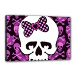 Pink Polka Dot Bow Skull Canvas 18  x 12  (Stretched)