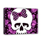 Pink Polka Dot Bow Skull Deluxe Canvas 16  x 12  (Stretched)
