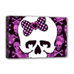Pink Polka Dot Bow Skull Deluxe Canvas 18  x 12  (Stretched)