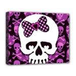 Pink Polka Dot Bow Skull Deluxe Canvas 20  x 16  (Stretched)