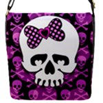 Pink Polka Dot Bow Skull Removable Flap Cover (S)