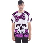 Pink Polka Dot Bow Skull Men s Sports Mesh Tee