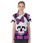 Pink Polka Dot Bow Skull Women s Cotton Tee