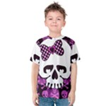 Pink Polka Dot Bow Skull Kids  Cotton Tee