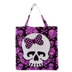 Pink Polka Dot Bow Skull Grocery Tote Bag