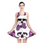 Pink Polka Dot Bow Skull Reversible Skater Dress
