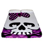 Pink Polka Dot Bow Skull Fitted Sheet (Queen Size)