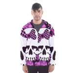 Pink Polka Dot Bow Skull Men s Hooded Windbreaker