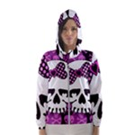 Pink Polka Dot Bow Skull Women s Hooded Windbreaker