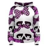 Pink Polka Dot Bow Skull Women s Pullover Hoodie