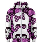 Pink Polka Dot Bow Skull Men s Zipper Hoodie