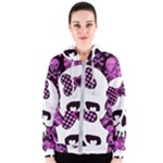 Pink Polka Dot Bow Skull Women s Zipper Hoodie
