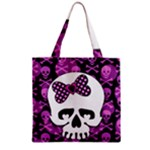 Pink Polka Dot Bow Skull Zipper Grocery Tote Bag