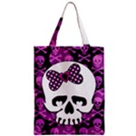 Pink Polka Dot Bow Skull Zipper Classic Tote Bag