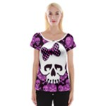 Pink Polka Dot Bow Skull Cap Sleeve Top