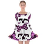 Pink Polka Dot Bow Skull Long Sleeve Skater Dress