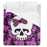 Pink Polka Dot Bow Skull Duvet Cover (Queen Size)