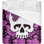 Pink Polka Dot Bow Skull Duvet Cover (King Size)