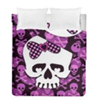 Pink Polka Dot Bow Skull Duvet Cover Double Side (Full/ Double Size)