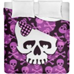 Pink Polka Dot Bow Skull Duvet Cover Double Side (King Size)