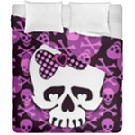 Pink Polka Dot Bow Skull Duvet Cover Double Side (California King Size)