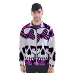 Pink Polka Dot Bow Skull Men s Windbreaker