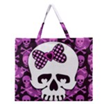 Pink Polka Dot Bow Skull Zipper Large Tote Bag
