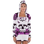 Pink Polka Dot Bow Skull Long Sleeve Hooded T-shirt