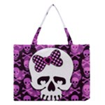 Pink Polka Dot Bow Skull Medium Tote Bag
