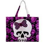 Pink Polka Dot Bow Skull Zipper Medium Tote Bag