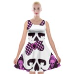 Pink Polka Dot Bow Skull Velvet Skater Dress