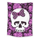 Pink Polka Dot Bow Skull Medium Tapestry