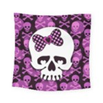Pink Polka Dot Bow Skull Square Tapestry (Small)