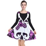 Pink Polka Dot Bow Skull Plunge Pinafore Dress