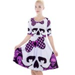 Pink Polka Dot Bow Skull Quarter Sleeve A-Line Dress