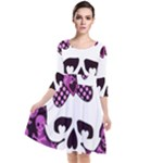 Pink Polka Dot Bow Skull Quarter Sleeve Waist Band Dress