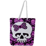 Pink Polka Dot Bow Skull Full Print Rope Handle Tote (Large)
