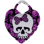Pink Polka Dot Bow Skull Giant Heart Shaped Tote