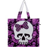 Pink Polka Dot Bow Skull Canvas Travel Bag