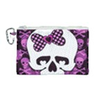 Pink Polka Dot Bow Skull Canvas Cosmetic Bag (Medium)