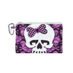 Pink Polka Dot Bow Skull Canvas Cosmetic Bag (Small)