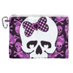 Pink Polka Dot Bow Skull Canvas Cosmetic Bag (XL)